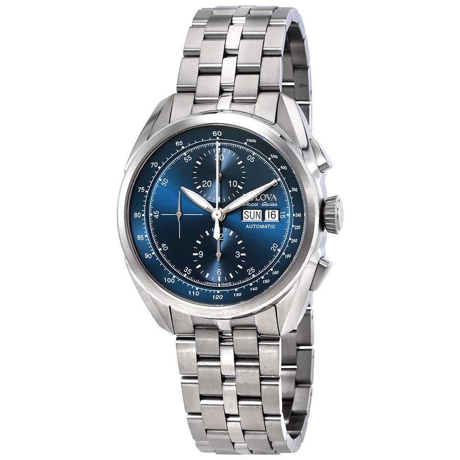 Bulova tellaro accuswiss chronograph automatic blue dial men 39 s watch 63c121 bulova watches for Watches bulova
