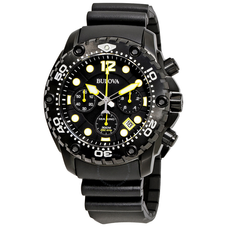 bulova watches jomashop bulova uhf sea king chronograph black dial men s watch