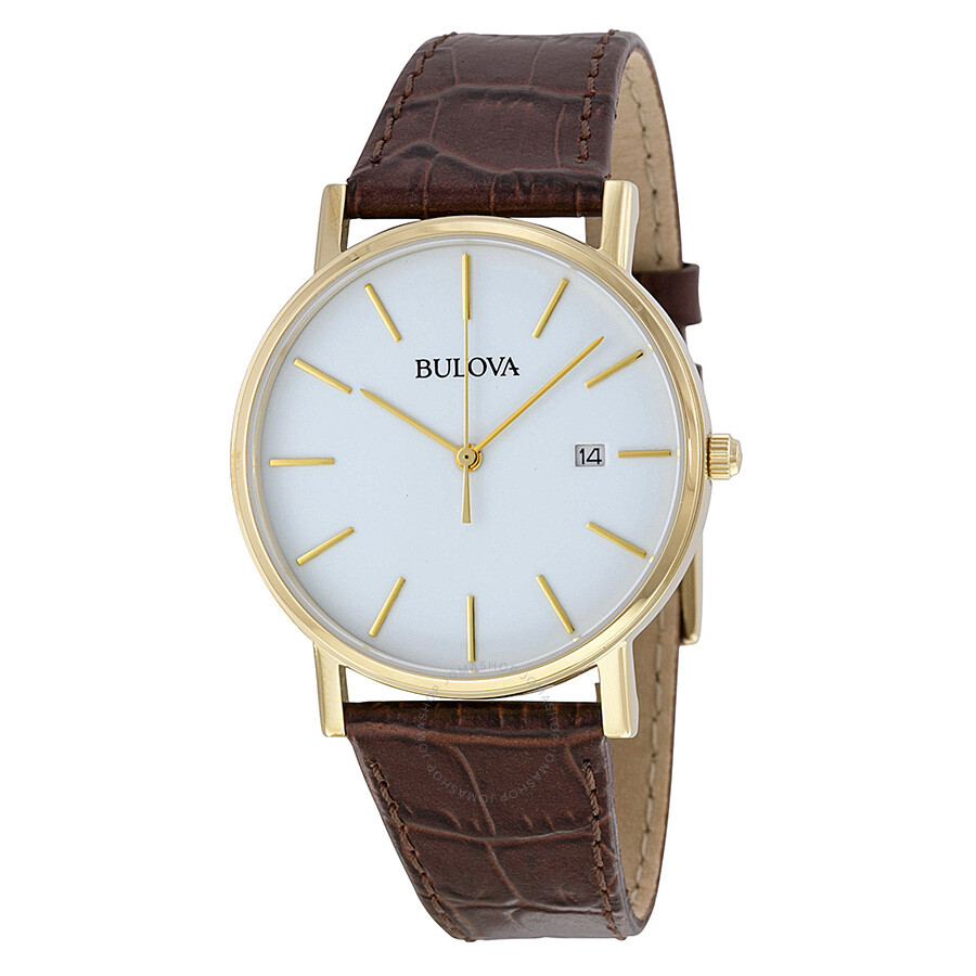 Bulova white dial gold tone stainless steel men 39 s watch 97b100 bulova watches jomashop for Watches bulova