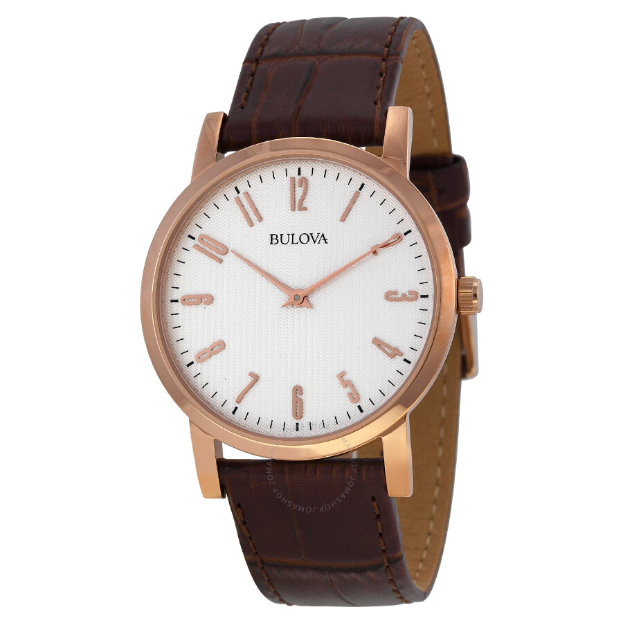 bulova white dial rose gold tone brown leather men s watch 97a106