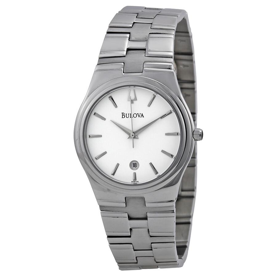 bulova white dial stainless steel men s watch 96b106 bracelet bulova white dial stainless steel men s watch 96b106