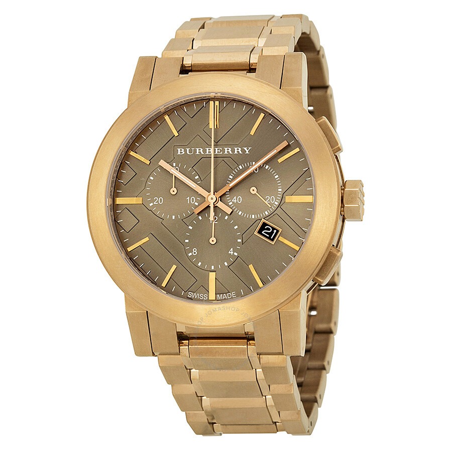 burberry taupe chronograph gold plated steel