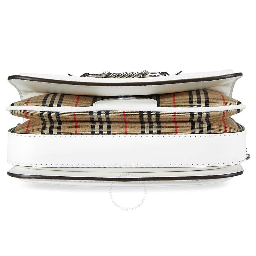 087756d12f Burberry 1983 Check Link Bag with Leather Trim- White - Burberry ...