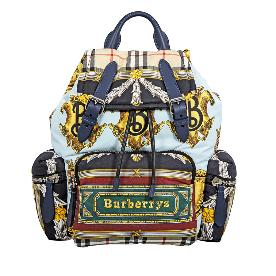 891d4474aea0 Burberry Archive Scarf Print Medium Rucksack- Ink Blue Item No. 4078770