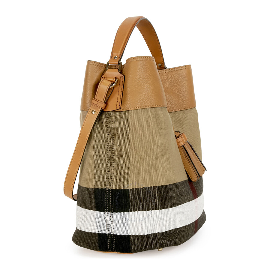 Burberry Ashby Medium Canvas Hobo Bag Saddle Brown