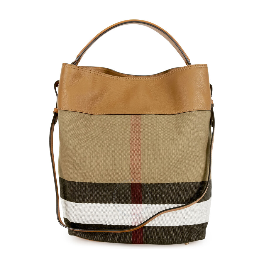 Burberry Ashby Medium Canvas Hobo Bag - Saddle Brown - Burberry ...