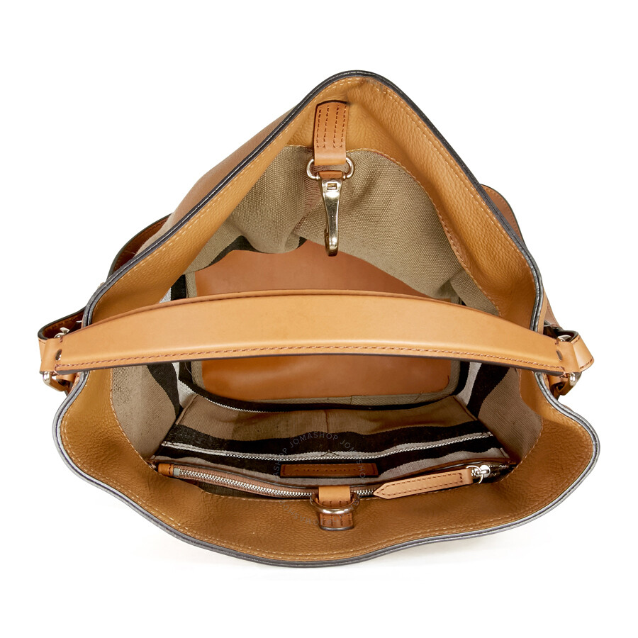 Burberry Ashby Medium Canvas Hobo Bag - Saddle Brown - Burberry ... bbd5f1d109