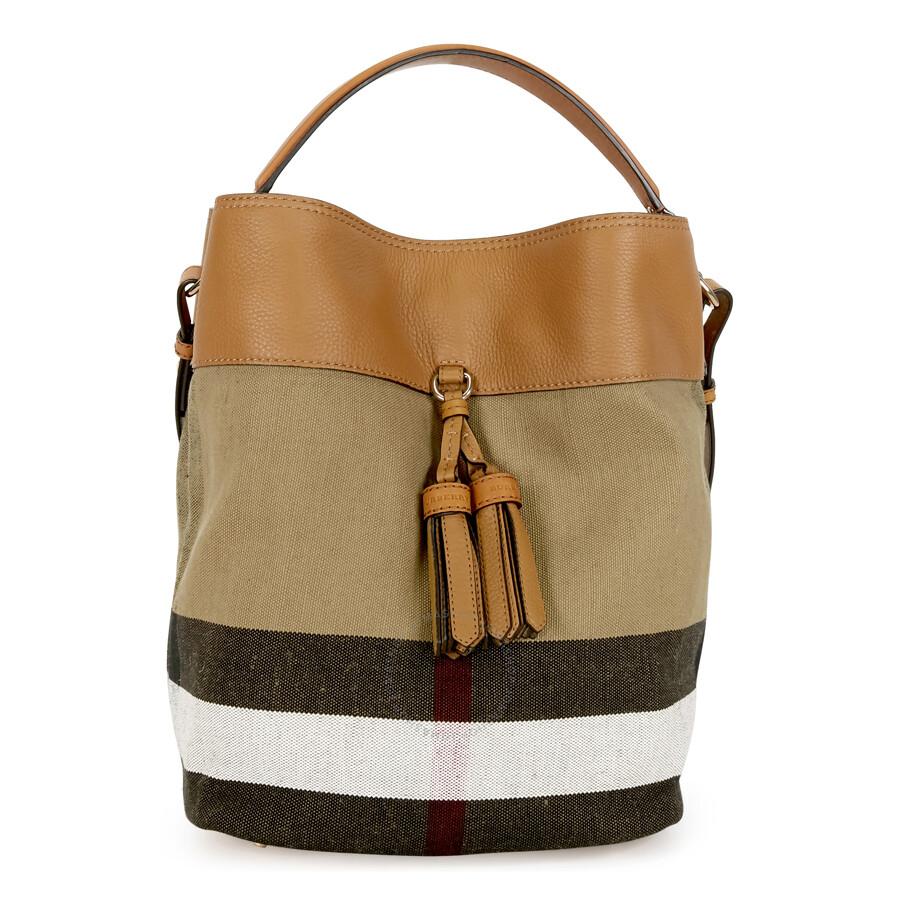Burberry Ashby Medium Canvas Hobo Bag - Saddle Brown ...