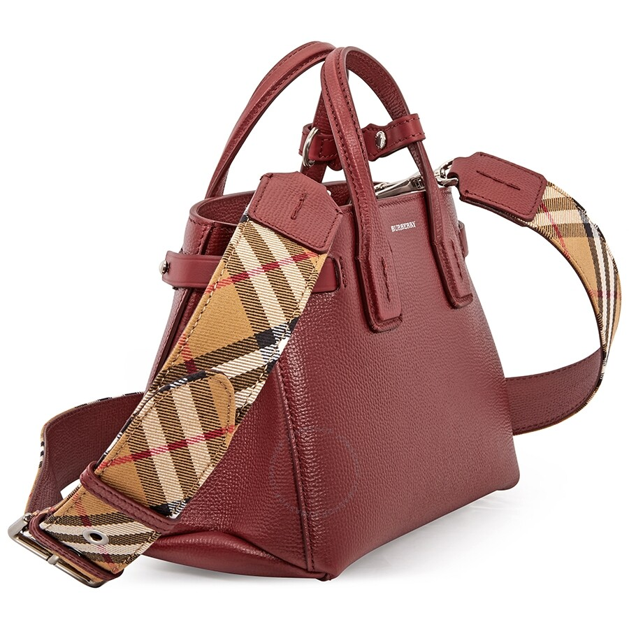 3113d8051a Burberry Baby Banner in Leather and Vintage Check- Crimson