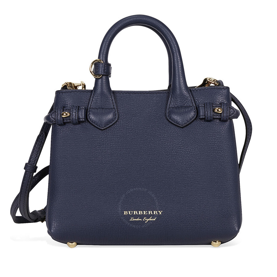 Burberry Baby Banner Leather House Check Tote Ink Blue Burberry Handbags Jomashop