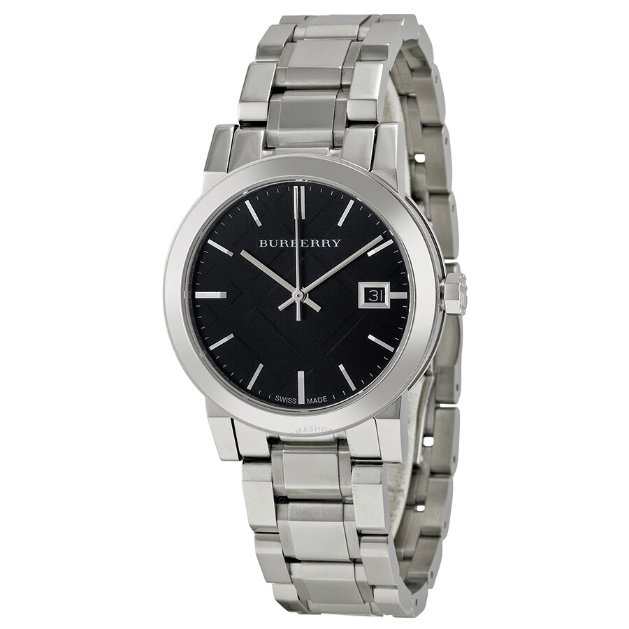Burberry black check stamped dial stainless steel ladies watch bu9101 burberry watches for Burberry watches