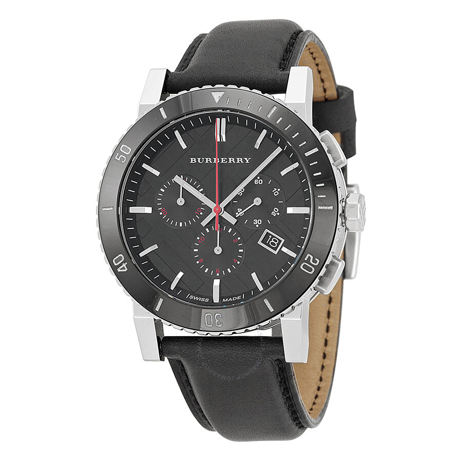 Burberry black dial chronograph black leather men 39 s watch bu9382 burberry watches jomashop for Burberry watches