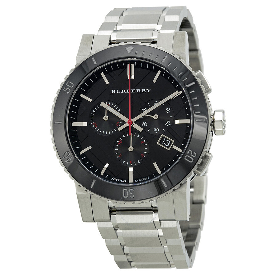Burberry black dial chronograph stainless steel men 39 s watch bu9380 burberry watches jomashop for Burberry watches