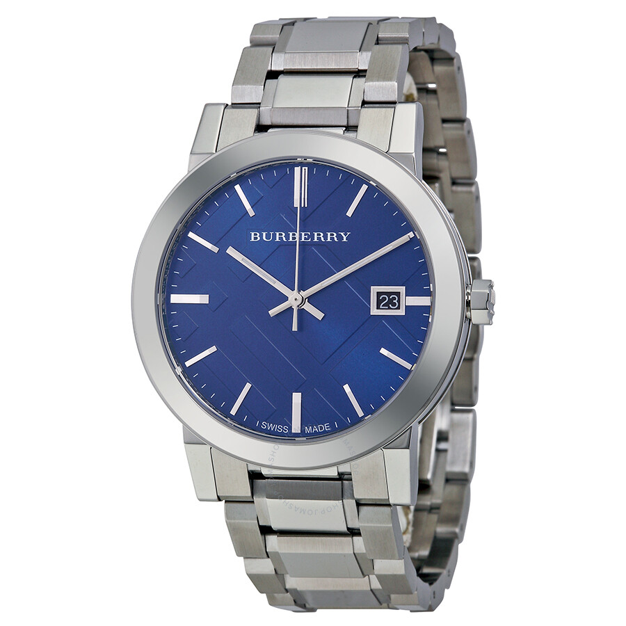 Burberry blue check stamped dial stainless steel men 39 s watch bu9031 burberry watches jomashop for Burberry watches