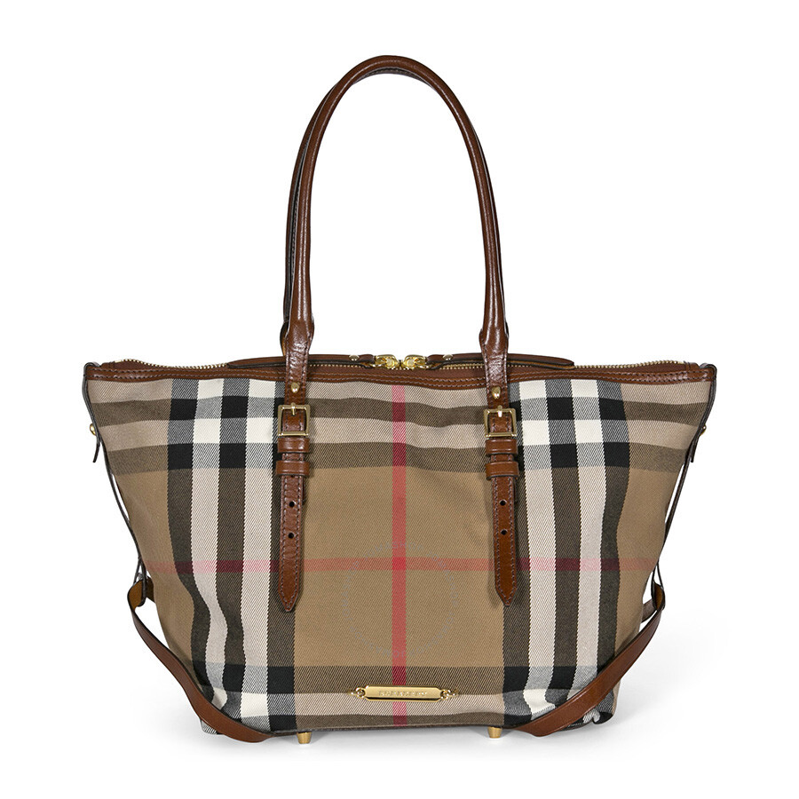 d2e703cee571 Burberry Bridle House Check Small Salisbury Tote in Dark Tan Item No.  38820551