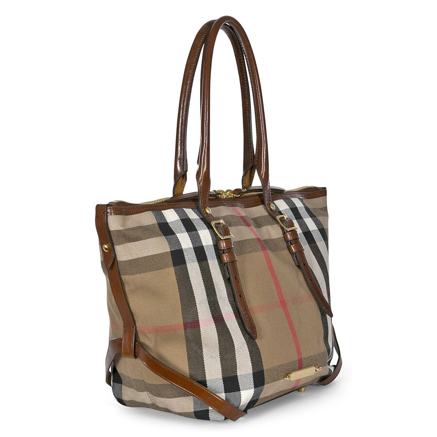 cc664b48b0f4 Burberry Bridle House Check Small Salisbury Tote in Dark Tan ...