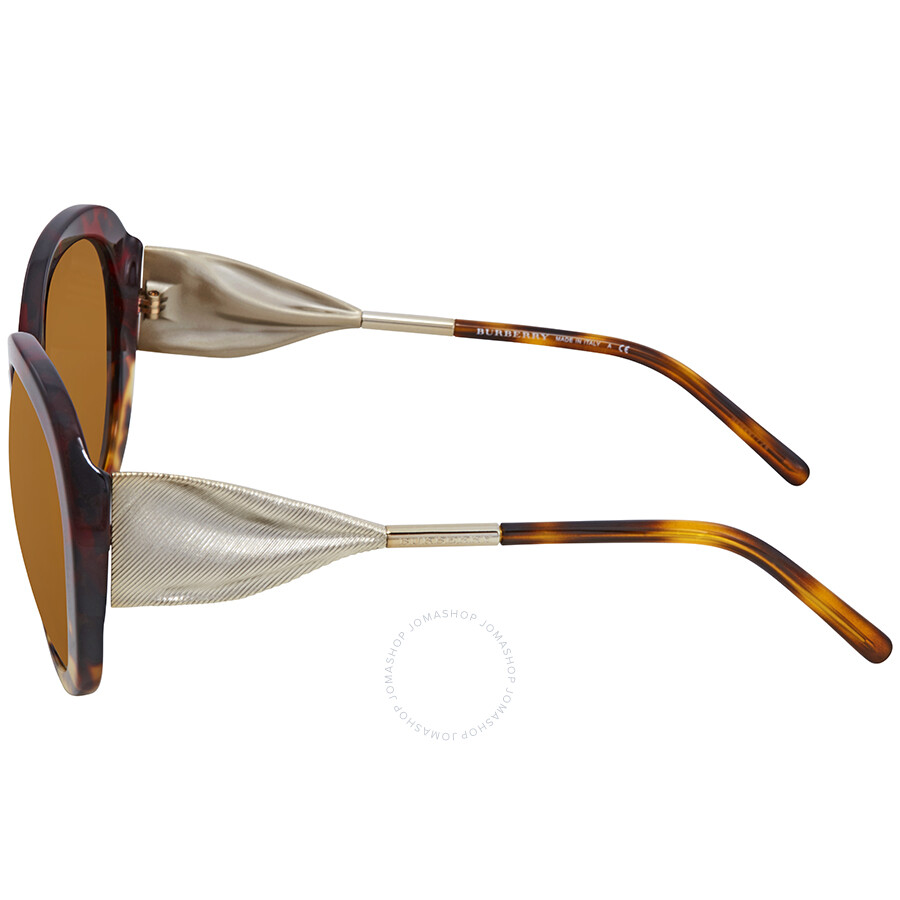 40f44b839fe5 Burberry Brown Mirror Gold Round Ladies Sunglasses BE4191-36646H-57 ...