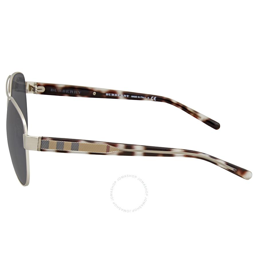 cb6cc4cbb62b Burberry Brushed Silver Metal Aviator Sunglasses Item No. BE3084-122987-60