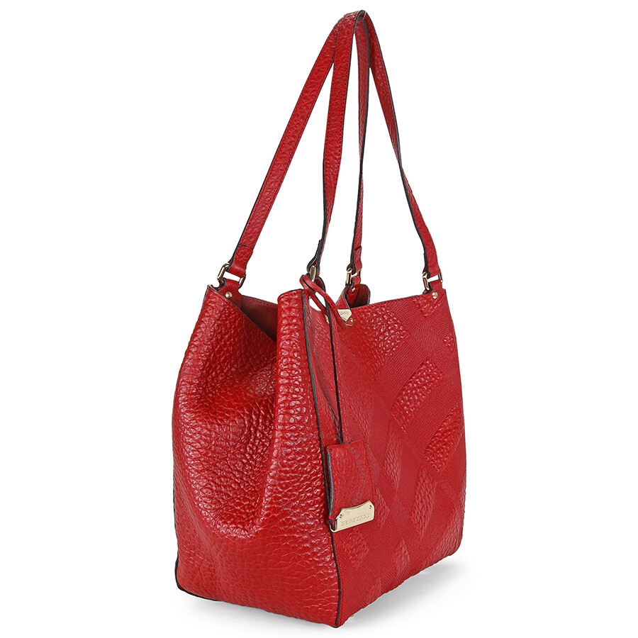 Burberry Canterbury Red Embossed Check Leather Tote