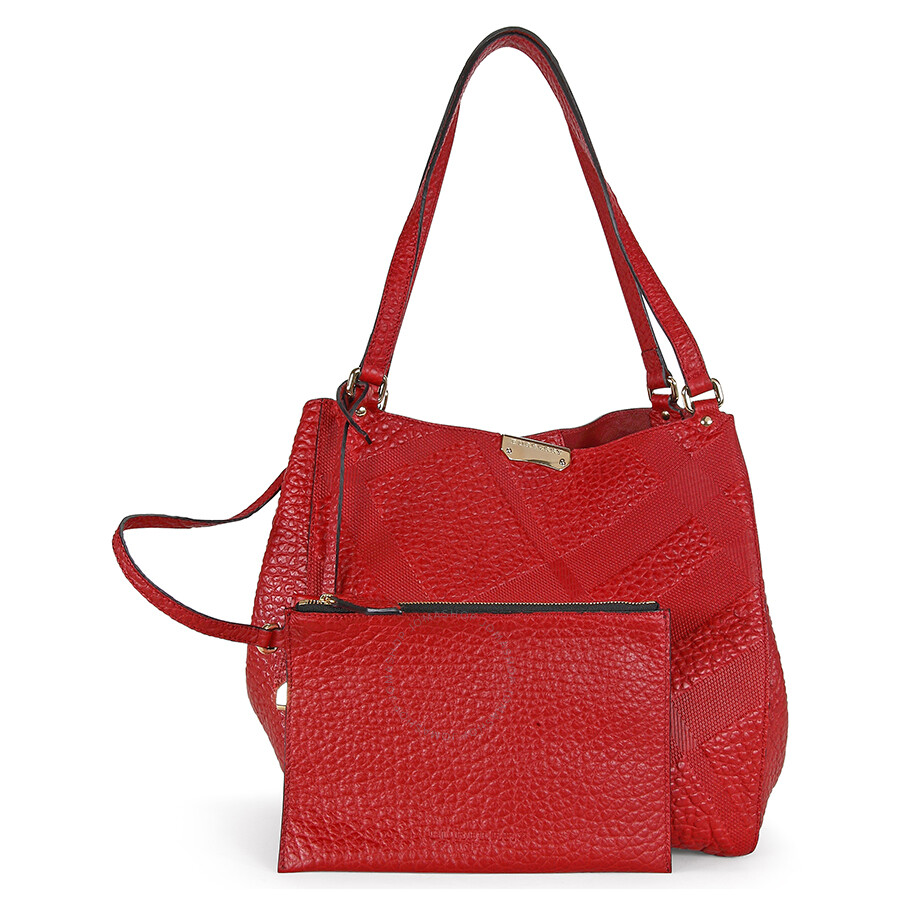 204a172da4cd Burberry Canterbury Red Embossed Check Leather Tote - Burberry ...