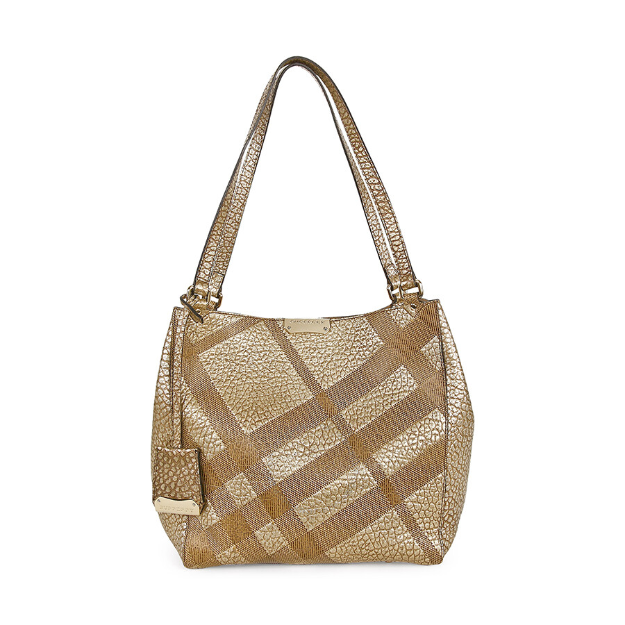 Burberry Canterbury Small Metallic Check-Embossed Beige Pebbled-Leather  Tote 3958878 e67b906d49e68