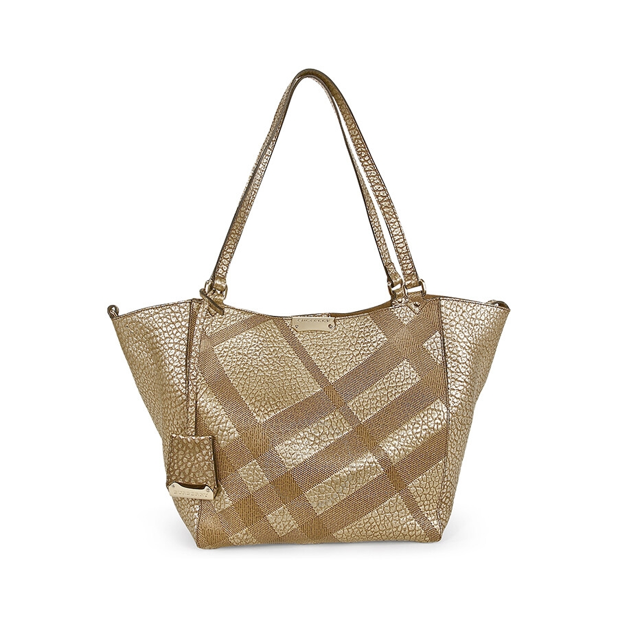 e90d4590e416 Burberry Canterbury Small Metallic Check-Embossed Beige Pebbled-Leather Tote  3958878