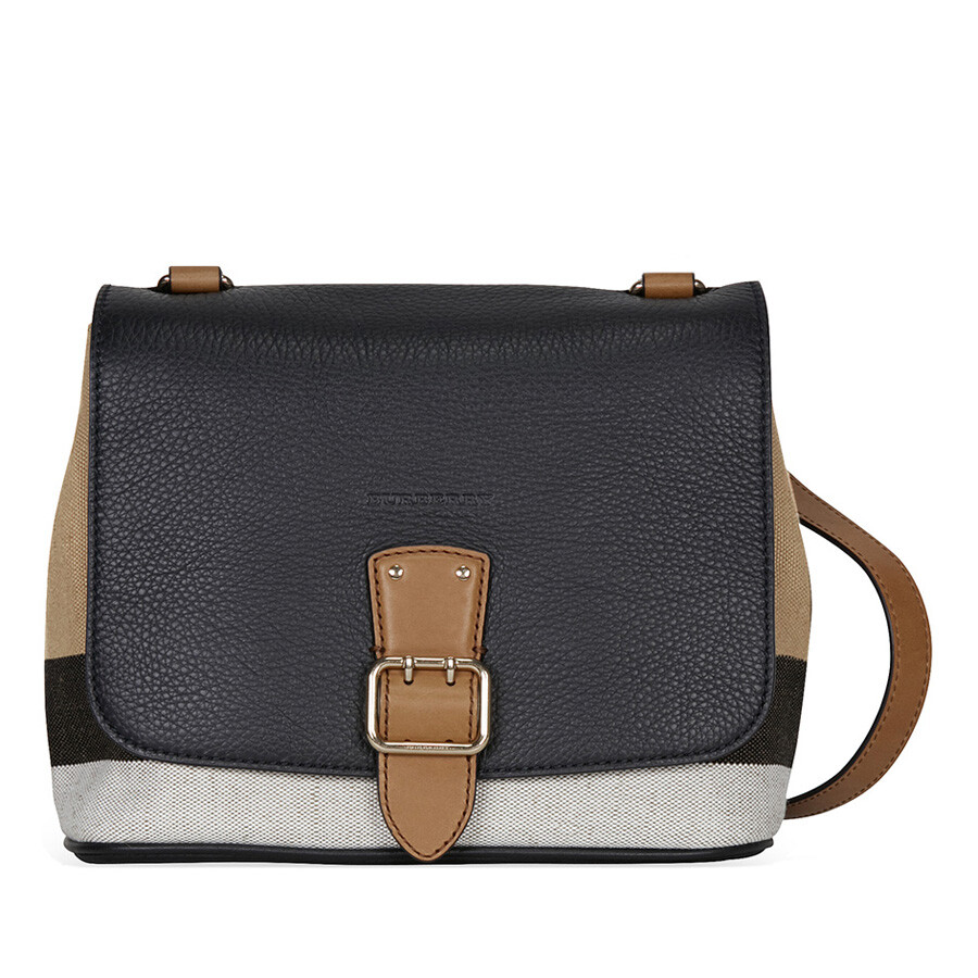84a02b0ab51b Burberry Canvas Check and Leather Crossbody - Black - Burberry ...