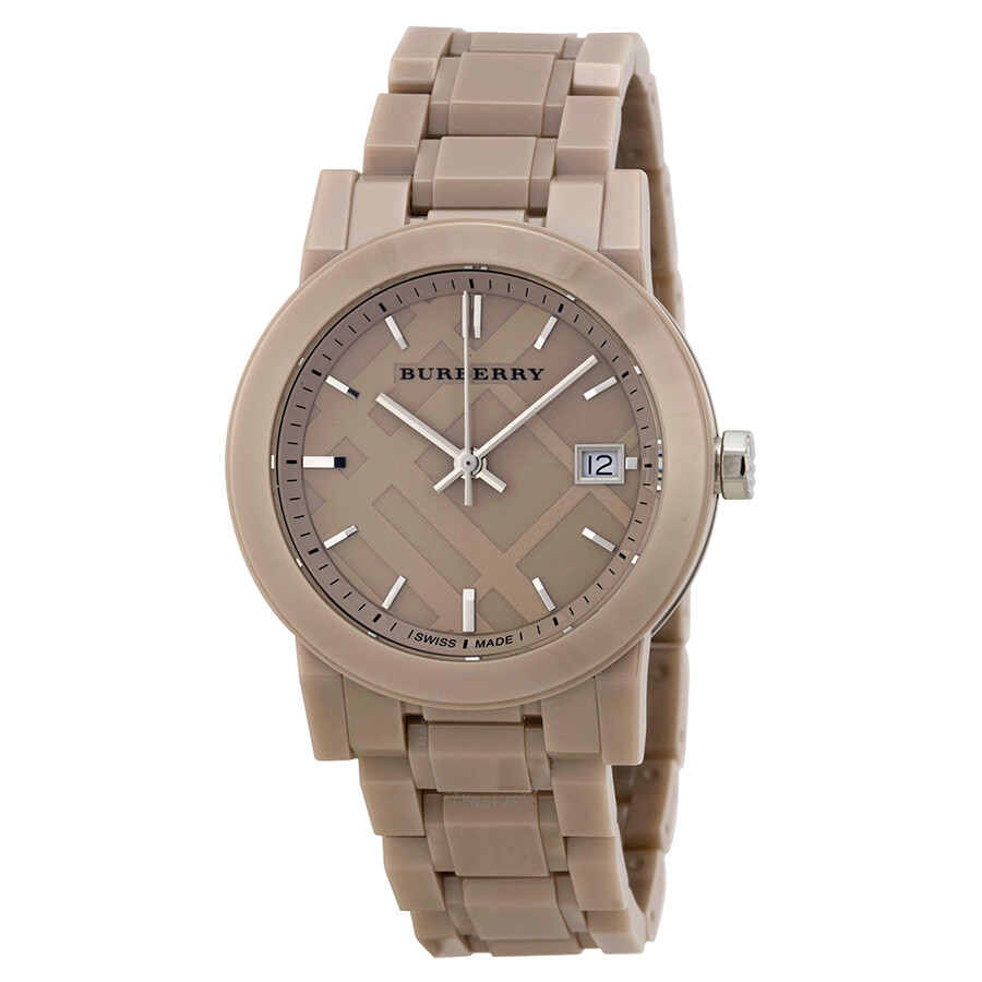 Burberry ceramic beige dial beige ceramic ladies watch bu9184 burberry watches jomashop for Burberry watches