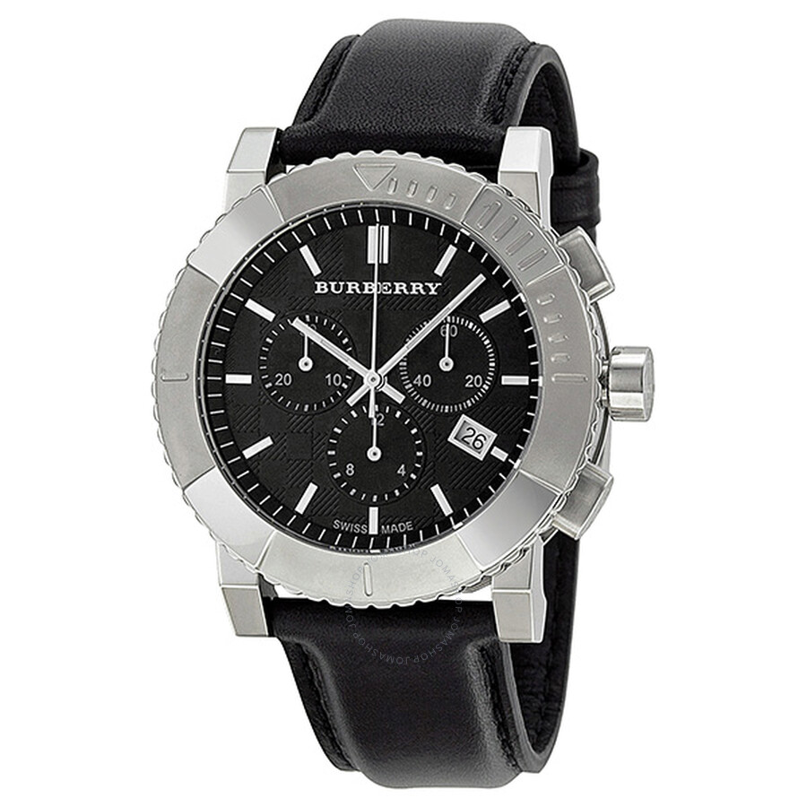40a931446248 Burberry Chrono Black Dial Black Leather Strap Men's Watch BU2306 ...