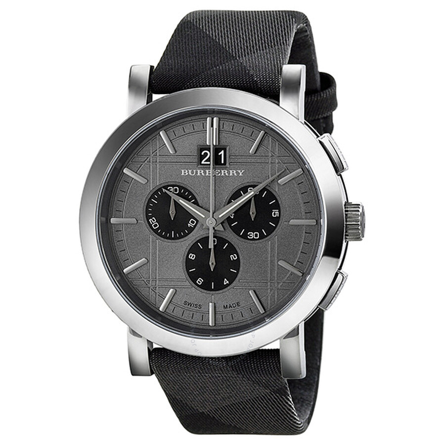 Burberry Chronograph Beat Check Grey Dial Stainless Steel ...
