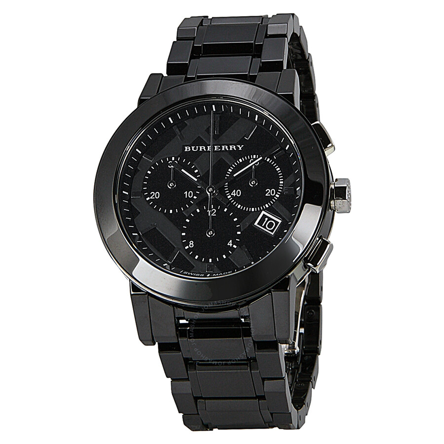 Burberry chronograph black dial black ceramic men 39 s watch bu9081 burberry watches jomashop for Burberry watches