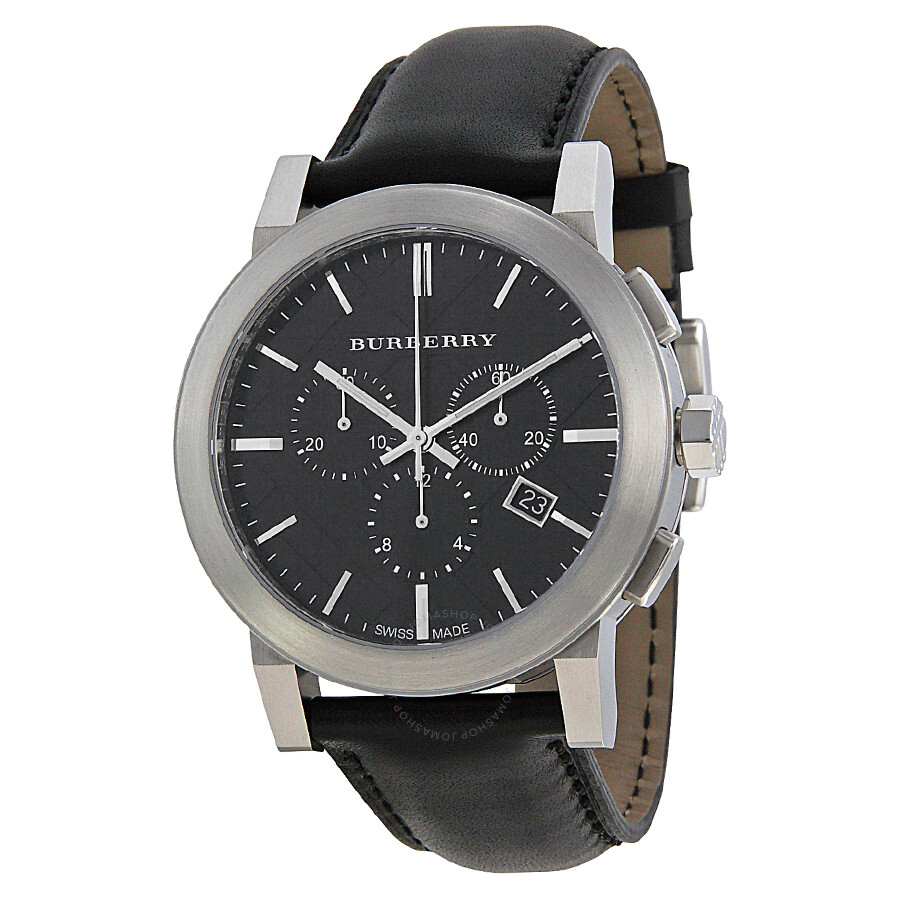 Burberry chronograph black dial black leather men 39 s watch bu9356 burberry watches jomashop for Burberry watches