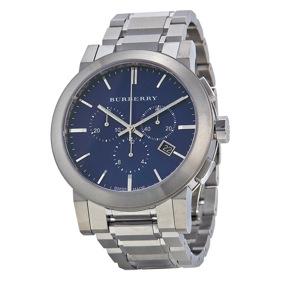 Burberry chronograph blue dial stainless steel men 39 s watch bu9363 burberry watches jomashop for Burberry watches