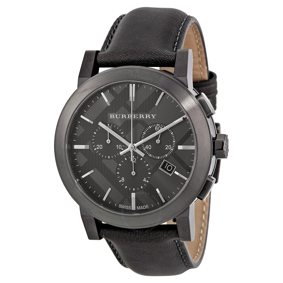 Burberry chronograph dark grey dial dark grey leather men 39 s watch bu9364 burberry watches for Burberry watches