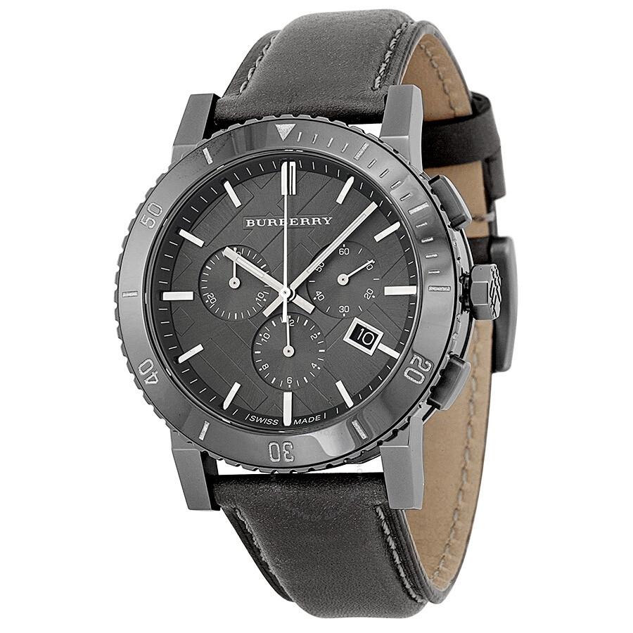 burberry chronograph grey grey leather s