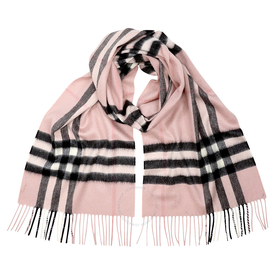Burberry Classic Cashmere Scarf in Check - Ash Rose Item No. BUR3994133 286a8dd8ed