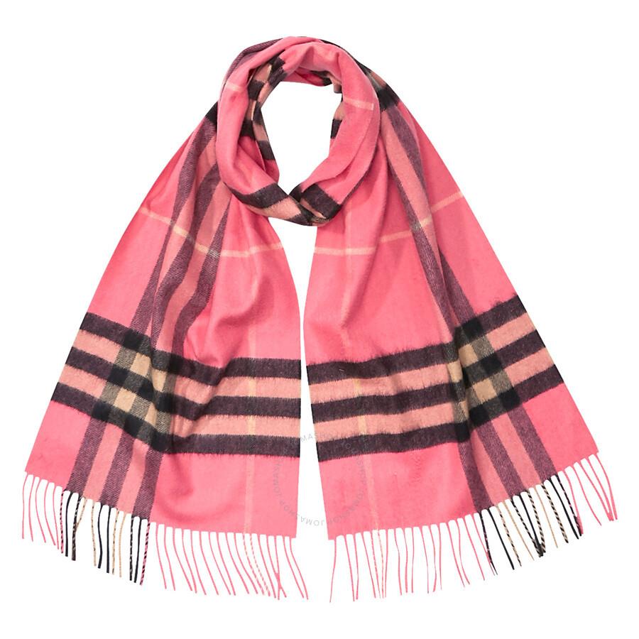 734fea4c15e04 Burberry Classic Cashmere Scarf in Check - Bright Rose Item No. 8004709