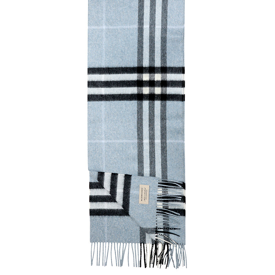 6eb8af2663ff1 Burberry Classic Cashmere Scarf in Check - Dusty Bue - Burberry ...