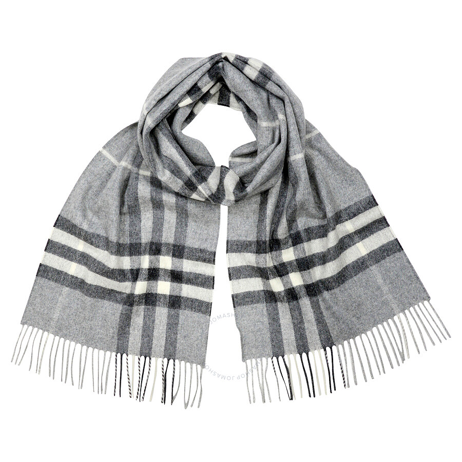 Burberry Classic Cashmere Scarf in Check - Pale Grey - Fashion ...