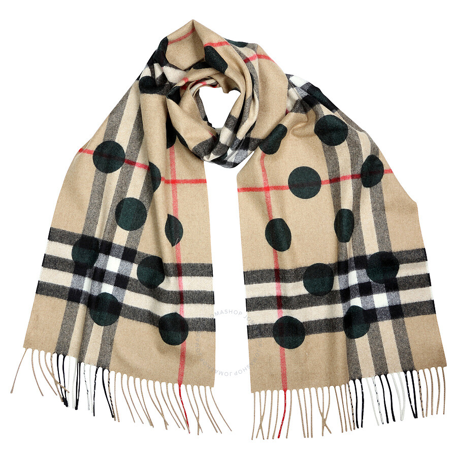 Burberry Classic Cashmere Scarf In Check And Dots - Dark Forest Green Item  No. BUR3994310 c607ac7975
