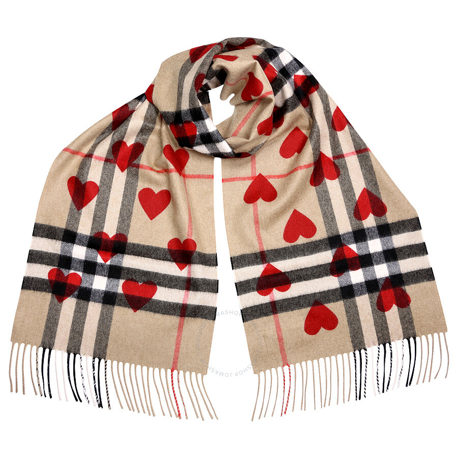 Burberry Classic Cashmere Scarf in Check and Hearts - Parade Red Item No.  BUR3993750 6330b8f039