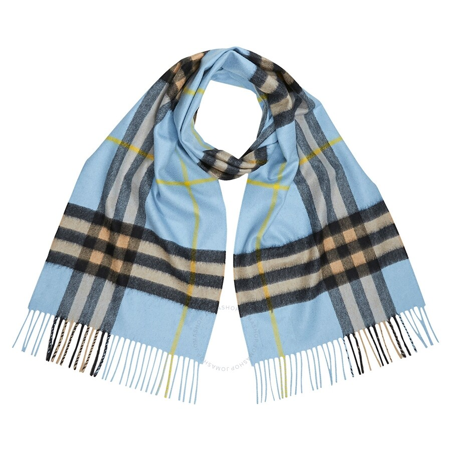 classic shoes official photos various styles Burberry Classic Vintage Check Cashmere Scarf- Pale Blue Carbon