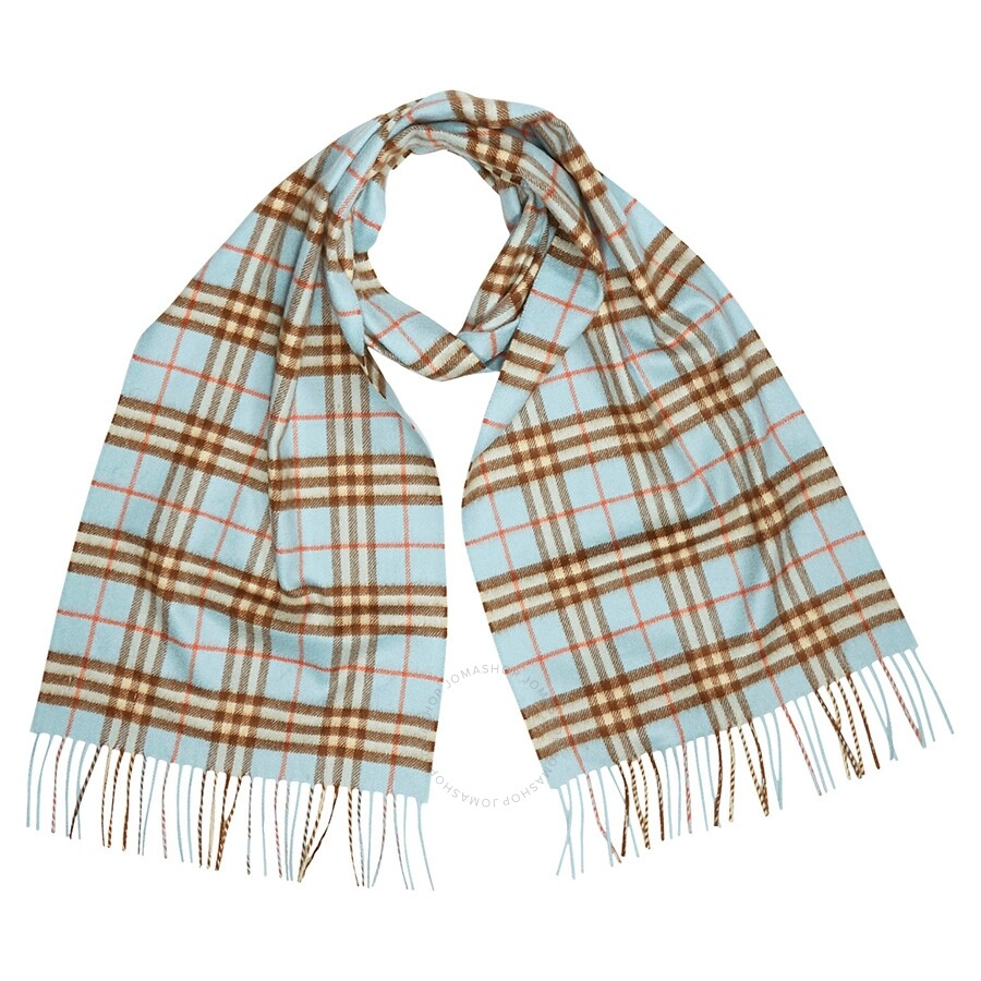 63182aea8f4 Burberry Classic Vintage Check Cashmere Scarf- Pale Peridot Blue Item No.  8004717