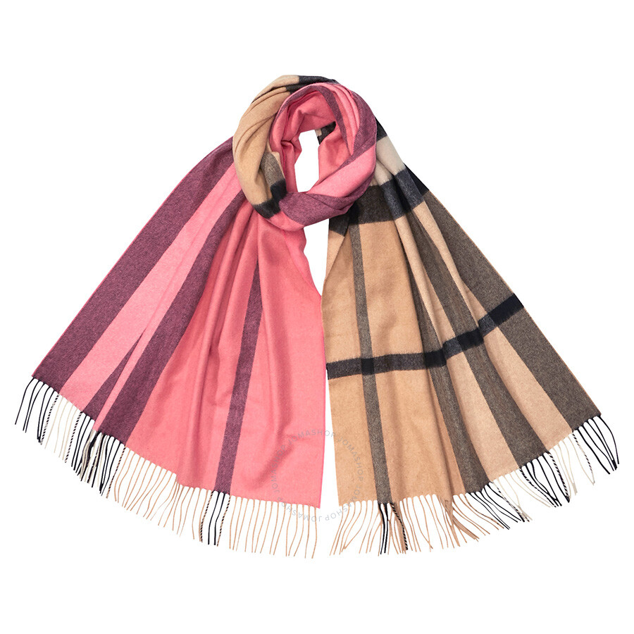 bc323ae8ba7ee Burberry Colour Block Cashmere Scarf- Rose Pink - Apparel - Fashion ...