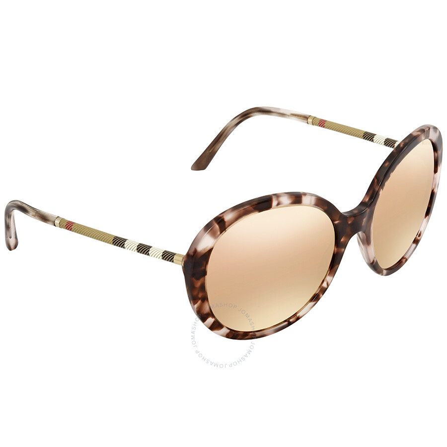 4d05d9309e37 Burberry Dark Brown Mirror Rose Gold Round Ladies Sunglasses BE4239Q-36637J- 57 ...