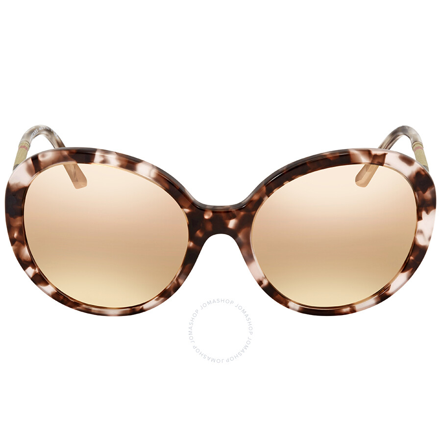 47aa7a86663d44 ... Burberry Dark Brown Mirror Rose Gold Round Ladies Sunglasses  BE4239Q-36637J-57 ...