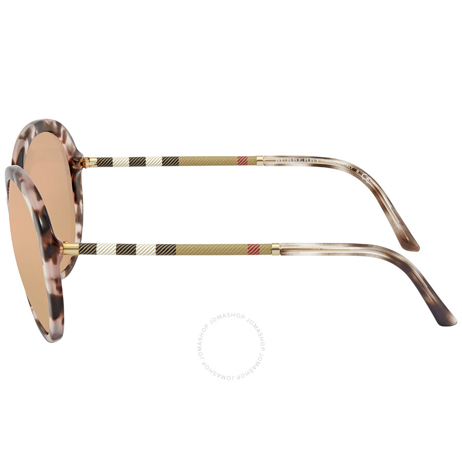 1fe6ad8ef7ee ... Burberry Dark Brown Mirror Rose Gold Round Ladies Sunglasses  BE4239Q-36637J-57