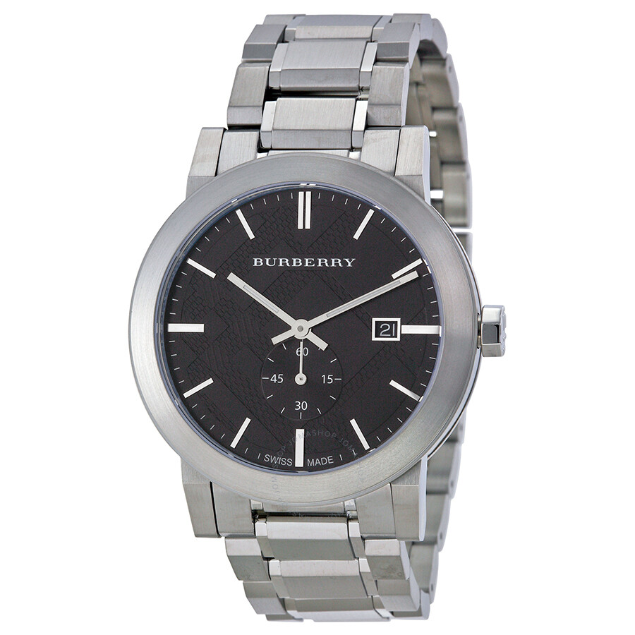 Burberry dark grey dial stainless steel men 39 s watch bu9901 burberry watches jomashop for Burberry watches