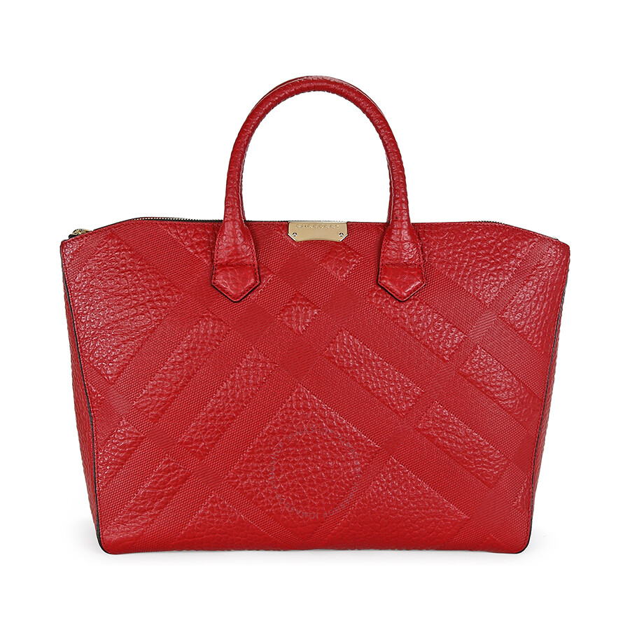 db08feac0f4a Burberry Dewsbury Red Leather Embossed Check Medium Carryall Tote Item No.  3938735