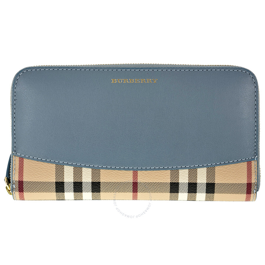 01bf03d4fdbd Burberry Elmore Haymarket Check Coated Canvas Blue - Grey Leather Zip  Around Wallet 3963118 Item No. 3963118